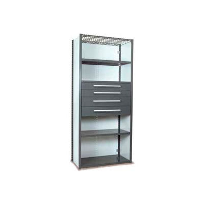 """Equipto Vg Closed Shelf Starter Unit - 36"""" W X 18""""D X 84"""" H W/ 5 Shelves and 4 Drawers, Office Gray"""