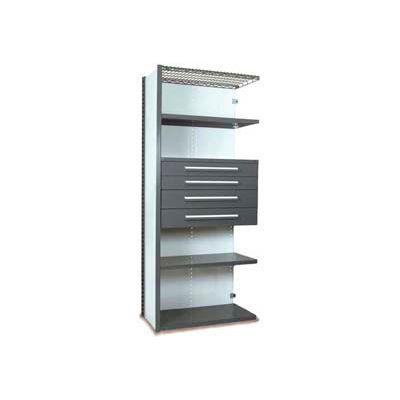 "Equipto Vg Closed Shelf Starter Unit 36"" W X 24"" D X 84"" H W/ 5 Shelves & 4 Drawers, Office Gray"