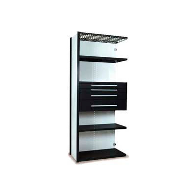 "Equipto Vg Closed Shelf Starter Unit 36"" W X 24"" D X 84"" H W/ 5 Shelves & 4 Drawers, Textured Black"