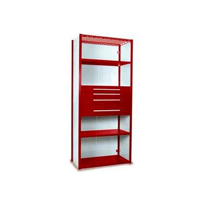 "Equipto Vg Closed Shelf Starter Unit 36"" W X 24"" D X 84"" H W/ 5 Shelves, 4 Drawers , Cherry Red"