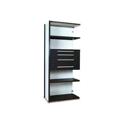 "Equipto Vg Closed Shelf Add On Unit - 48"" Wx 24"" D X 84"" H With 5 Shelves & 4 Drawers Black"