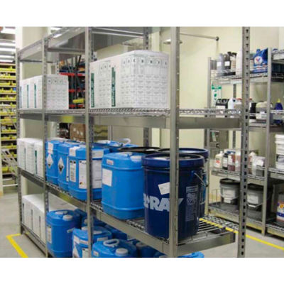 """V-Grip Pre-Configured Wire Shelving Spill Containment System - 48""""W x 18""""D X 84""""H - Add-On - Black"""