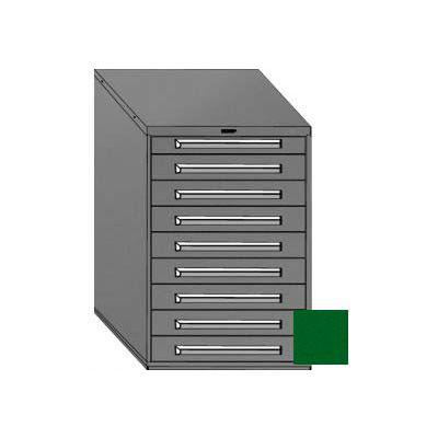 "Equipto 30""W Modular Cabinet 9 Drawers No Divider, 44""H & Lock-Textured Evergreen"