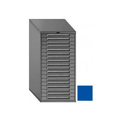 "Equipto 30""W Modular Cabinet 18 Drawers No Divider, 59""H, Keyed Alike Lock-Textured Regal Blue"