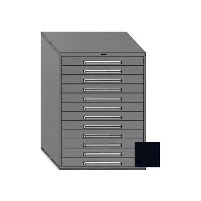 "Equipto 45""W Modular Cabinet 12 Drawers No Divider, 59""H & Lock-Textured Black"