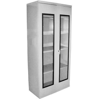 Equipto Quick View Cabinet 30 x 12 x 26, Assembled - Textured Dove Gray