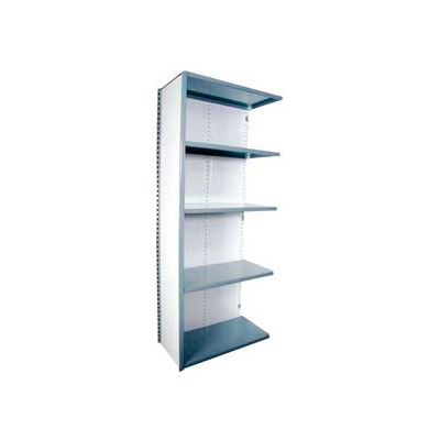 """Equipto Vg Closed Shelf Add On Unit - 36"""" W X 12"""" D X 84"""" H W/ 5 Shelves, Smooth Office Gray"""
