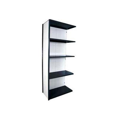 "Equipto Vg Closed Shelf Add On Unit - 36"" W X 18""D X 84"" H W/ 5 Shelves, Textured Black"