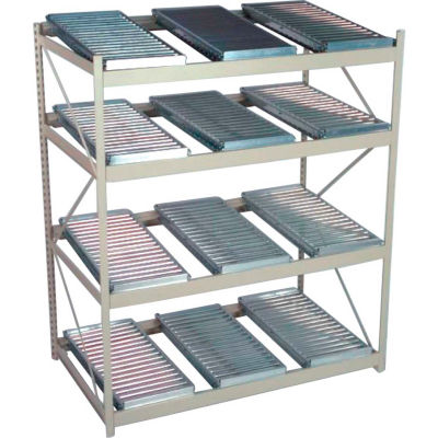 "Flow Rack 4 Shelves with 12 Span Track Flow Units - 48""W x 48""D x 72""H - Textured Black"