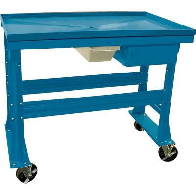 "Mobile Teardown Bench 60""W x 30""D x 37""H w/Fluid Container & Drawer-Blue"