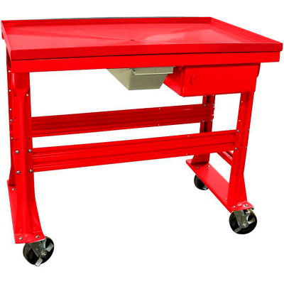 """Equipto Teardown Bench, Fluid Container, Drawer, 60""""W x 30""""D, Red"""