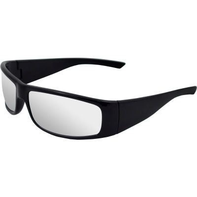 Boas® Xtreme Safety Glasses, ERB Safety, 17922 - Black Frame, Silver Mirror Lens - Pkg Qty 12
