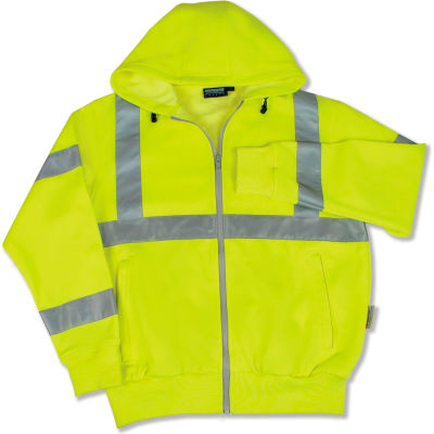 Aware Wear® ANSI Class 3 Hooded, Zipper Sweatshirt, 61525 - Lime, Size M