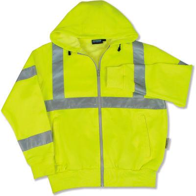 Aware Wear® ANSI Class 3 Hooded, Zipper Sweatshirt, 61529 - Lime, Size 3XL