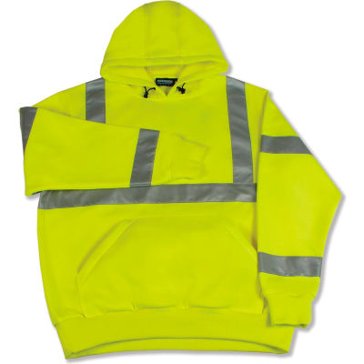 Aware Wear® ANSI Class 3 Hooded, Pull-Over Sweatshirt, 61542 - Lime, Size XL