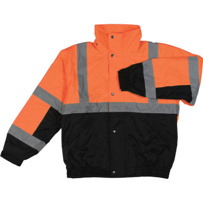 Aware Wear® Winter Wear ANSI Class 2 Bomber Jacket, 61608 - Orange/Black, Size 5XL