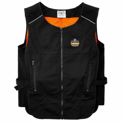 Ergodyne® Chill-Its® 6255 Lightweight Phase Change Cooling Vest, Black, S/M, 12123