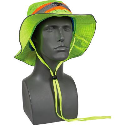 Ergodyne Chill-Its® Evap. Class Headwear Hi-Vis Ranger Hat w/Built-In Cooling Towel, Lime, L/XL