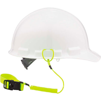 """Ergodyne® Squids® 3157 Coil Hard Hat Lanyard with Buckle, Lime, 18"""" - Pkg Qty 6"""