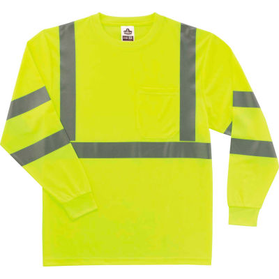 Ergodyne® GloWear® 8391 Class 3 Long Sleeve T-Shirt, Lime, 5XL