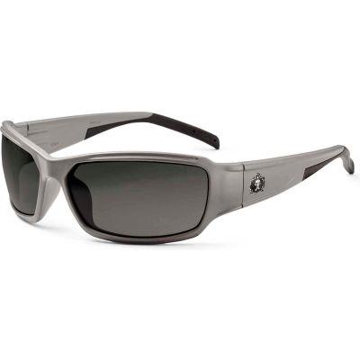 Ergodyne® Skullerz® Thor Safety Glasses W/Fog-Off, Smoke AF Lens, Matte Gray Frame