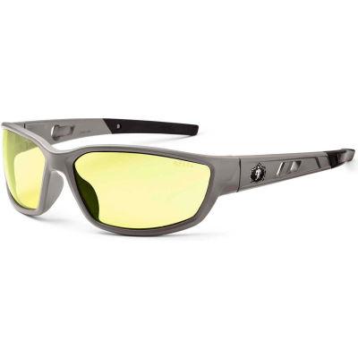 Ergodyne® Skullerz® Kvasir Safety Glasses, Yellow Lens, Matte Gray Frame