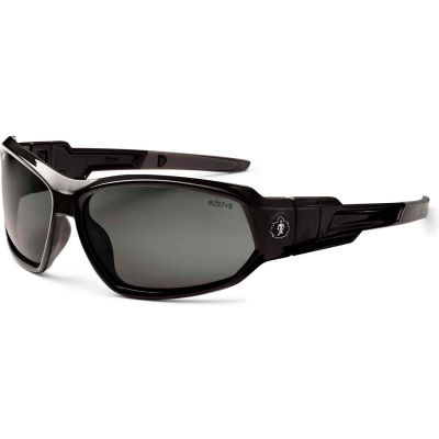 Ergodyne® Skullerz® Loki PZ Safety Glasses/Goggles, Polarized Smoke Lens, Black Frame - Pkg Qty 12