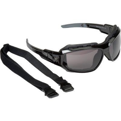 Ergodyne® Skullerz® Loki Safety Glasses/Goggles W/Fog-Off, Smoke AF Lens, Black Frame