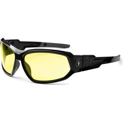 Ergodyne® Skullerz® Loki Safety Glasses/Goggles, Yellow Lens, Black Frame - Pkg Qty 12