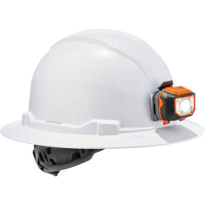 Ergodyne Skullerz® 8971LED Hard Hat, Full Brim, Ratchet Suspension, LED Light, Class E, White