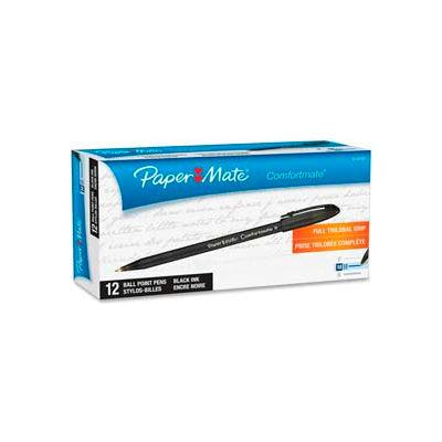 Paper Mate® ComfortMate Ballpoint Stick Pen, Medium, Black Ink, Dozen