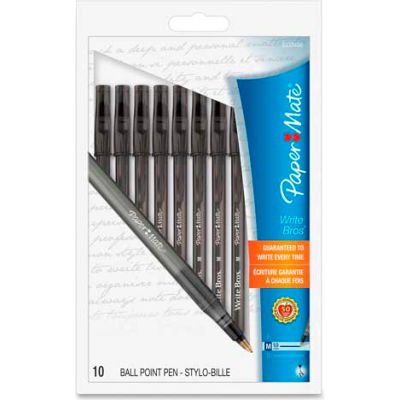 Paper Mate® Write Bros Ballpoint Pen, Medium, Black Ink, 10/Pack
