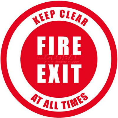 "Durastripe 12"" Round Sign - Fire Exit Keep Clear At All Times"