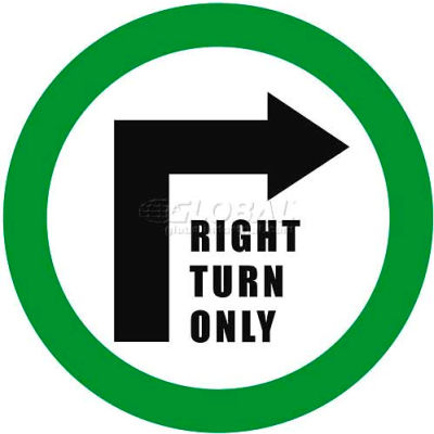 """Durastripe 12"""" Round Sign - Right Turn Only"""