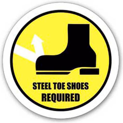 """Durastripe 24"""" Round Sign - Steel Toe Shoes Required"""