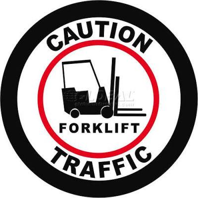 """Durastripe 24"""" Round Sign - Caution Forklift Traffic"""