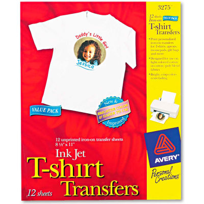 Avery® Light Fabric Transfers for Inkjet Printers - AVE3275 - 8-1/2 x 11 - White - 12/Pack