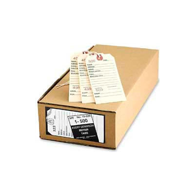 """Avery® Duplicate Repair Tags, Numbered 1 to 500, 5-1/4"""" x 2-5/8"""", Manila, 500 Tags/Box"""