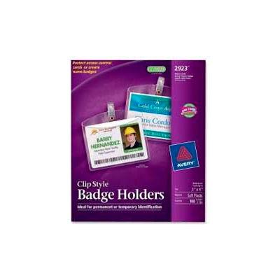 "Avery® Clip Style Photo ID Badge Holders, Horizontal, 3"" x 4"", 100/Box"