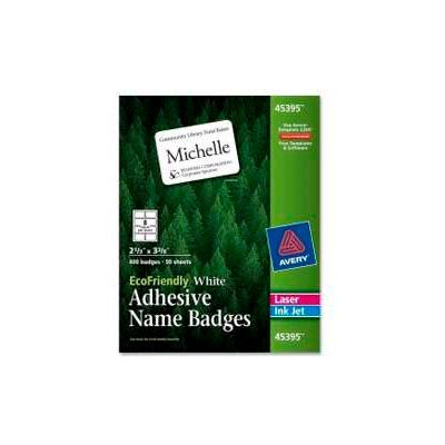 "Avery® EcoFriendly Adhesive Name Badges, 2-1/3"" x 3-3/8"", White, 400 Labels/Box"
