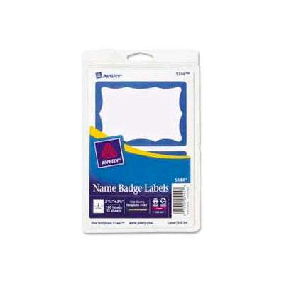 """Avery® Name Badge Labels, 2-11/32"""" x 3-3/8"""", Blue Border, 100 Labels/Pack"""