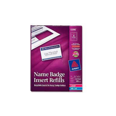 "Avery® Name Badge Insert Refills, 2-1/4"" x 3-1/2"", White, 400 Inserts/Box"