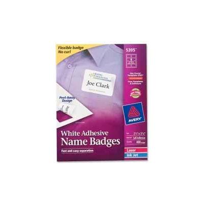 "Avery® Adhesive Name Badge Labels, 2-1/3"" x 3-3/8"", White, 400/Box"