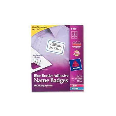 "Avery® Adhesive Name Badge Labels, 2-1/3"" x 3-3/8"", Blue Border, 400/Box"