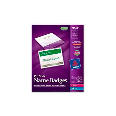 """Avery® Pin Style Name Badges, 3""""x 4"""", Clear, 100/Box"""