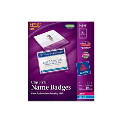 """Avery® Clip Style Name Badges, 3"""" x 4"""", Clear, 100/Box"""