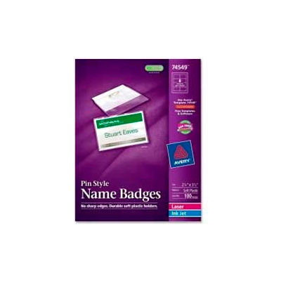 """Avery® Pin Style Name Badges, 2-1/4"""" x 3-1/2"""", Clear, 100/Box"""