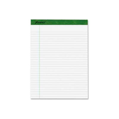 "Esselte® Envirotech Pad, 8-1/2"" x 14"", Front Wide Ruled/Back Unruled, White, 4 Pads/Pack"