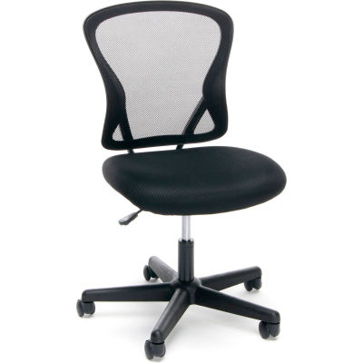 Essentials by OFM ESS-3010 Swivel Mesh Back Armless Task Chair, Mid Back, Black