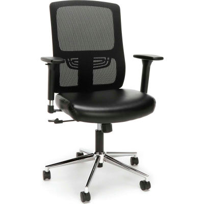 OFM Essentials Collection Mid Back Mesh Back with Leather Seat Office Chair, Lumbar Support, Black